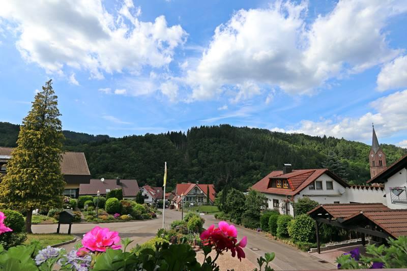 Ausblick übers Dorf vom Balkon der Ferienwohnung