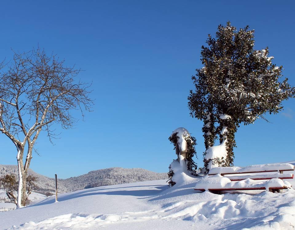 Winterlandschaft überm Dorf