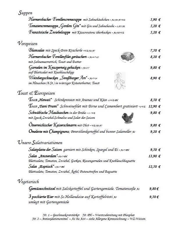 Restaurant Speisekarte mit Suppen, Vorspeisen, Toast und vegetarischen Gerichten