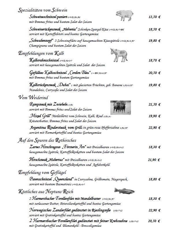 Restaurant Speisekarte mit Hauptgänge vom Schwein, Kalb, Rind, Wild und Fisch im Freihof in Oberharmersbach